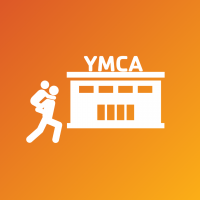 illustration adult carrying child on back to ymca building