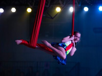 A young hammock acrobat performs during the Great Y Circus at the Redlands Family YMCA in Upland on Wednesday, May 1, 2019. (Photo by Terry Pierson, The Press-Enterprise/SCNG)