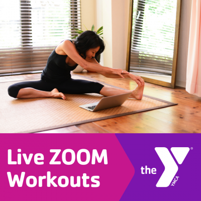 Live zoom workouts woman stretching near laptop