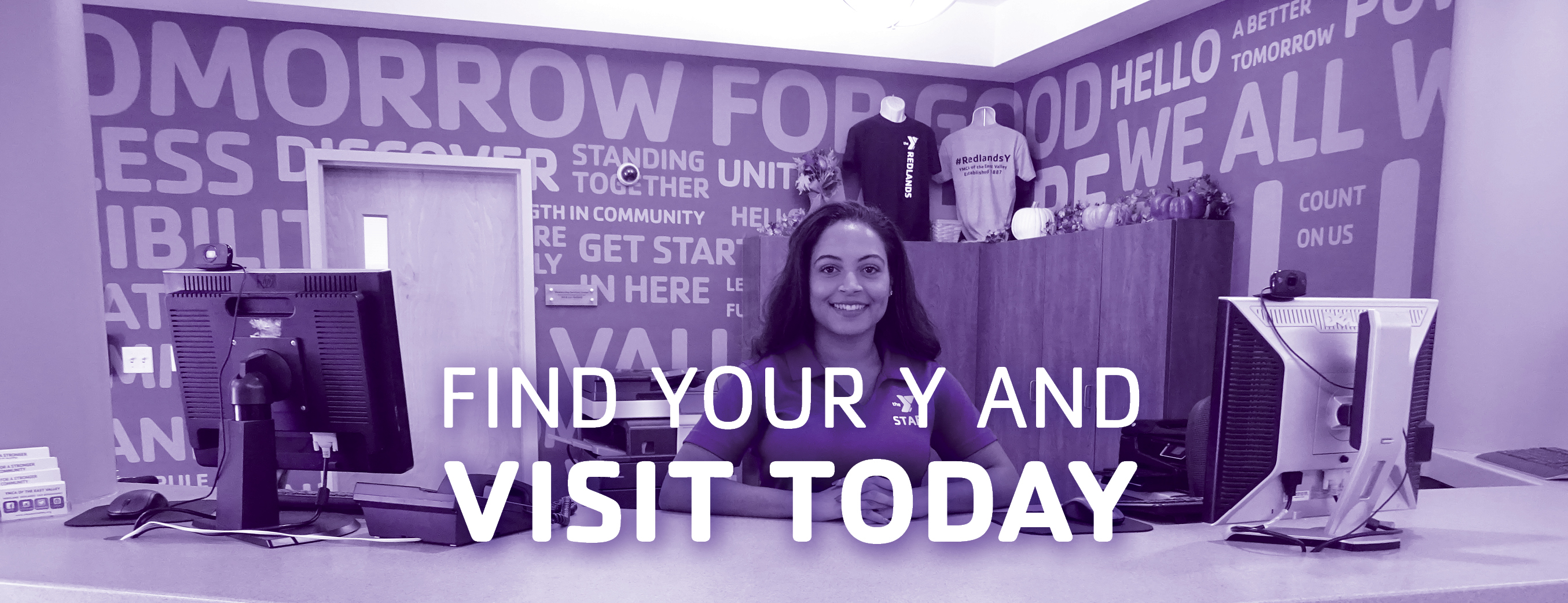 Front desk of the Redlands Family YMCA. Find your y and visit today.